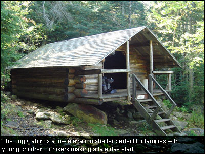 The Log Cabin is a low elevation shelter perfect for families with young children or hikers making a late day start.
