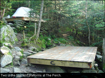 Two of the four tent platforms at The Perch.