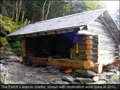 The Perch's lean-to shelter, shown with restoration work done in 2010.